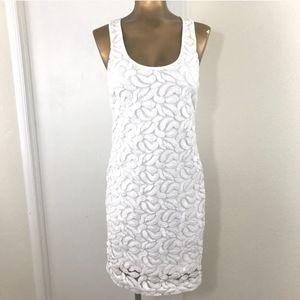 Banana Republic White Lace Bodycon Tank Dress